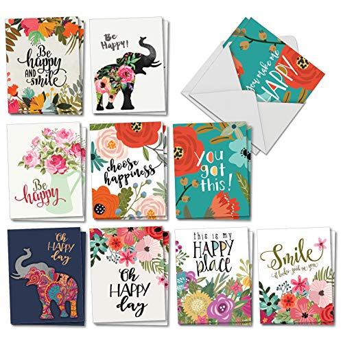 Optimisms: 20assortiti vuoto tutte le occasioni carte con una foto Inspirational Saying combinata con colori vivaci e design floreale, con buste. am6631ocb-b2x 10