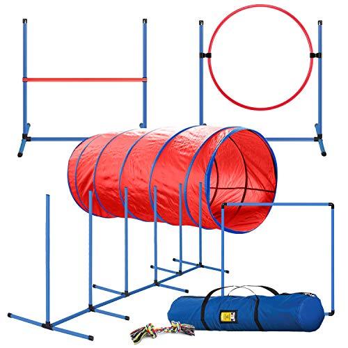 CHEERING PET, Premium Dog Agility Equipment Set, 5 Pieces of Dog Training Fun, Tunnel, Dog Jump,...