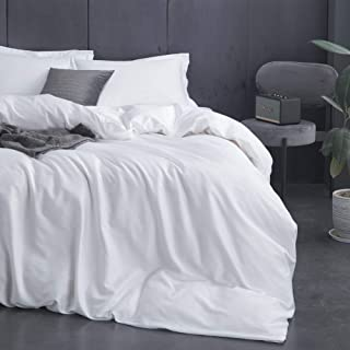 ZONDAWIND Egyptian Long Staple Cotton Duvet Cover Set with Sateen Finish, 3 in 1, Soft and Silky Feel, Solid Color Pima Quality Bed Linen – White, King