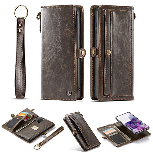 liyuzhu Funda tipo cartera para Samsung S20 con correa de muñeca, ranura para tarjetas, protección avanzada, piel sintética, con tapa magnética, extraíble y tarjetero (color: marrón)