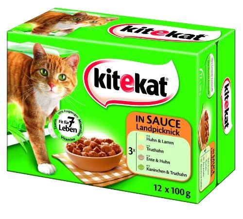 Kitekat 48x100g Multipack Landpicknick in Sauce das Lieblings-Katzenfutter
