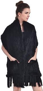 Rabbit Fur Shawl - Real Knit Fur Scarf Winter Tassels Wrap Women Warm Cape With Pocket