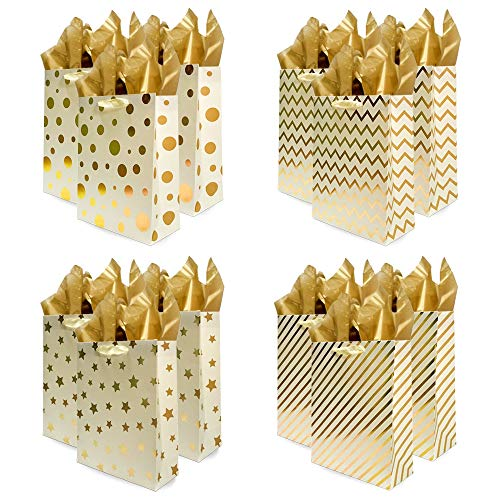 UNIQOOO 12Pcs Gold Metallic Foil Gift Bags Bulk with 12 Sheets Gold Tissue Paper and Ribbon Handles, Large 12.6 Inch 4 Assorted Design, Durable for Birthday Anniversary Mother' Day Easter Wedding Wrapping Party Favor Retail Business Paper Wrap Bags