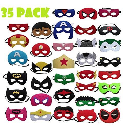 TATAFUN Máscaras de Superhéroe,Suministros de Fiesta de Superhéroes, Máscaras de Cosplay de Superhéroe con Cuerda Elástica Máscaras de Ojos para Niños Mayores de 3 años 35 Piezas