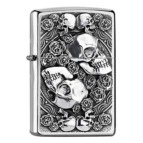Zippo Skull and Roses Feuerzeug, Silber, One Size