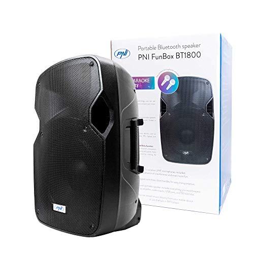 Altavoces portátiles PNI FunBox BT1800, RMS 180W, woofer de 12 Pulgadas, con Bluetooth, Reproductor de MP3, SD, USB, Radio FM, Karaoke, función Echo y 2 micrófonos UHF incluidos