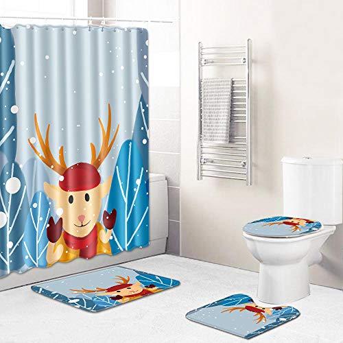 Ginsenget 4 Pieces Bath Set Super Soft Bath Mat,Shower Curtain+U-Shaped Contour Mat+Toilet Seat Cover+12 Matching Roller Shower Hooks,Christmas