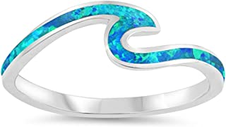 Blue Simulated Opal Wave Dainty Thumb Ocean Ring .925 Sterling Silver Band Sizes 4-12