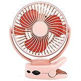 LZRDZSW El Nuevo USB Mini Ventilador del Clip Cargador Giratorio portátil de Escritorio silencioso Ventilador de Tabla del Estudiante compartida Personal Fan an Ultra Quiet Fan (Color : Pink)
