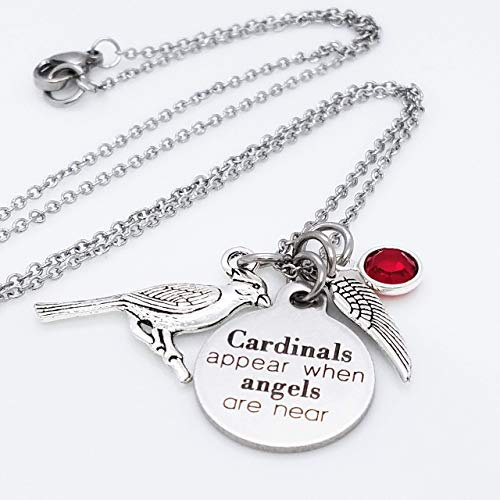 Cardinals Appear When Angels Are Near Memorial 20 inch Charm Necklace