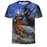 Camisetas Manga Corta Hombre Heavy Metal Music Cool Classic Rock Band Skull Head Fashion Men 3D DJ Shirt-T327_6XL