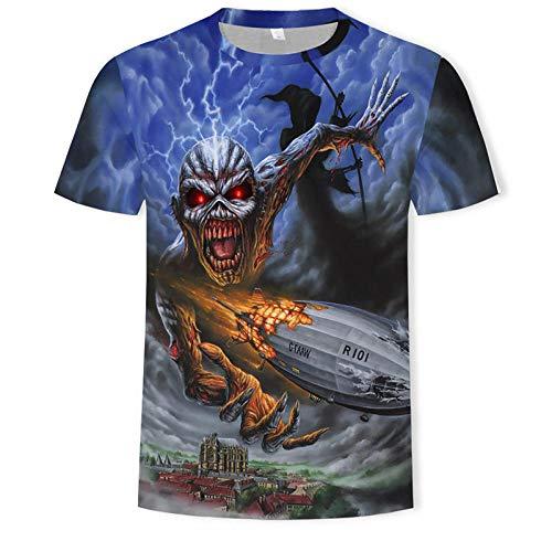 Camiseta Blanca Heavy Metal Music Cool Classic Rock Band Skull Head Fashion Men 3D DJ Shirt