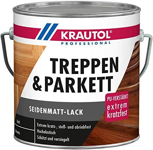 Krautol Treppen- und Parkettlack seidenmatt, extrem kratz-, stoß- und abriebfester Acryl-Lack, farblos, 2,5 Liter