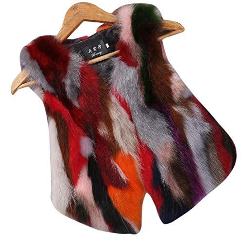 CHARTOU Women's Puffy V Neck Sleeveless Luxury Faux Fur Contrast Color Vest Gilet (Large, Multi Color)