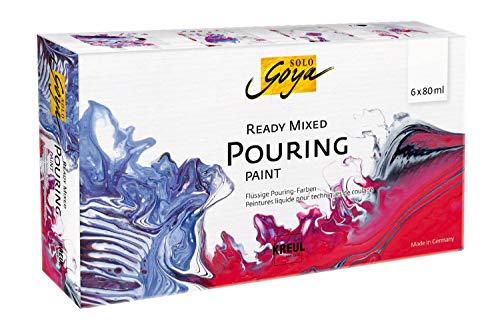 Kreul SOLO GOYA 87230 - Juego de botes de pintura acrílica premezclada, 6 botes de 80 ml en blanco, rojo carmín, magenta, azul cobalto, negro y azul zafiro, para técnicas de riego y fluido