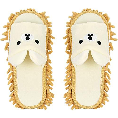 Whchiy Pantuflas desmontables de microfibra para limpiar las pantuflas multifunción, suelos, lavables y reutilizables para baño, oficina, cocina o casa (beige)