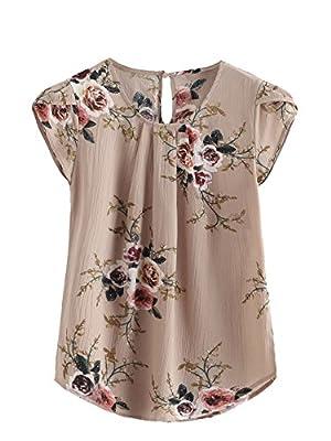 Milumia Women's Cap Sleeve Blouse Knot Back Flower Print Blouse Medium