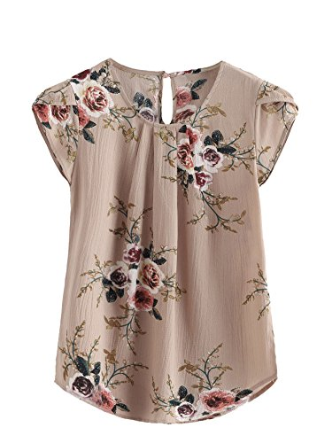 Milumia Women's Cap Sleeve Blouse Knot Back Flower Print Blouse Multicolour Small
