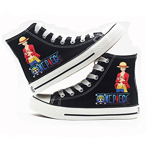 Anime ONE Piece Canvas Shoes Luffy Ace Cosplay Shoes Sneaker High-top Casual Shoes Black for Men Women