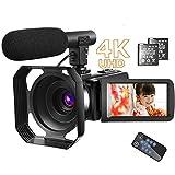 ビデオカメラ4K ビデオカメラ 48MPデジタルカムコーダーカメラマイク付きウルトラHD Vloggingカメラ リモコン付き回転式3.0タッチスクリーン バッテリー2個