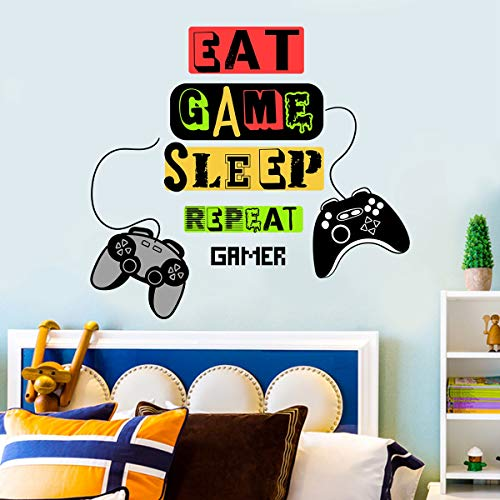 Adhesivo decorativo para pared de gamer para juegos de juegos, vinilo para control de juegos, pegatinas de pared para dormitorio de niños, sala de juegos, decoración de habitación