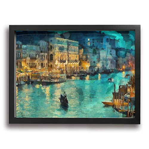 "Amonee 12""x16"" Canvas Wall Art Print Italy Venice Night Abstract Framed Canvas Pictures Prints Contemporary Artwork Ready to Hang for Home Decoration Wall Decor"