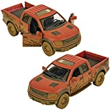 Kinsmart 1:46 Scale Die-Cast F-150 SVT Raptor SuperCrew (Muddy) with Openable Doors & Pull Back Action Please note: COLORS WILL BE SENT AS PER STOCK AVAILABILITY Muddy Design to give the Feeling of the Original Car Raptor Model of the popular SUV Ope...