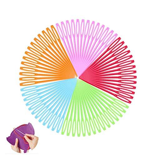 Aguja de Coser de Plástico,100 Piezas Agujas de Coser de Mano de Plástico Multicolor para Niños Proyectos de Manualidades y Agujas 7cm