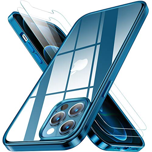 RANVOO Clear Case Compatible with iPhone 12 Pro Max Case with 2 Screen Protectors, Protective Shockproof [Full Body Protection] Cover with Soft TPU Bumper and Transparent Hard PC Back (6.7 inch)-Blue