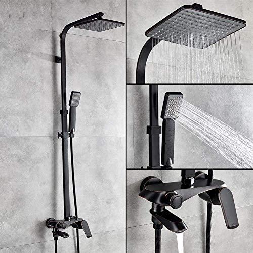 WFAANW Conjunto de Ducha en Bronce Negro, Grifo Mezclador, 8 Pulgadas Cabezal de Ducha de Lluvia con el Aerosol, baño canalón montado en la Pared Caliente/fría