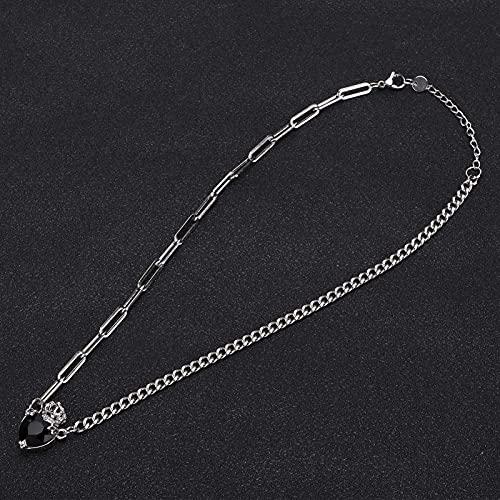 Collar delicado Colgante de collar de corazón en capas Cadena de accesorios de joyería ajustable de acero inoxidable con colgante de corona en forma de corazón