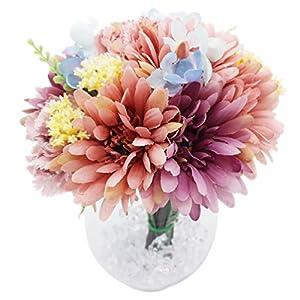 Lumiphire Ramo de Flores Artificiales en Florero Decoración del Hogar Adornos de Interior Regalos para Ella Gracias…