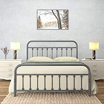 AMBEE21 Vintage Queen Metal Bed Frame with Headboard and Footboard Platform/Wrought Iron/Heavy Duty/Solid Sturdy Metal Slat/Rustic Gray Silver/No Box Spring Needed/Industrial & Farmhouse
