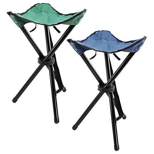 com-four® 2X Dreibein-Klapphocker mit praktischer Transporttasche, Camping-Stuhl klappbar und kompakt