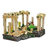Adornos de decoración del acuario del templo de Atenas, decoración del tanque de peces del pilar romano, 24x16x14cm (color crema)