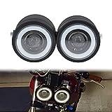 HDBUBALUS Angel Eye Twin Headlight Motorcycle Dominator Double Head Lamp Universal Fit for Street bike Harley Yamaha Kawasaki Suzuki 1 Pair
