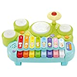Electronic xylophone with game drum,Rabing Electronic piano with drum 1-3 years old boy and girl piano music baby early education educational toy