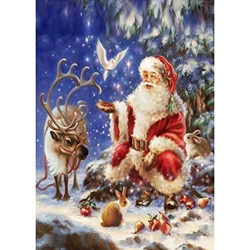 Verloco fotobehang voor de muur, kerstman, 5D, diamantschilderij, DIY olie op canvas, grote stickers, decoratie voor thuis, als kerstcadeau, party