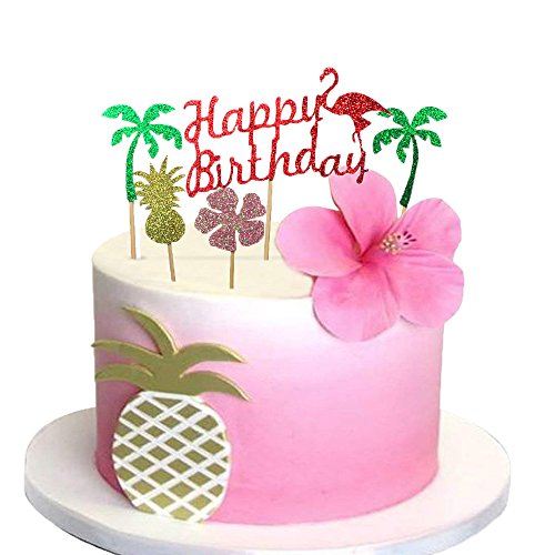 Glitter Luau Cake Topper Flamingo Happy Birthday Cake Picks Pineapple Flamingo Coconut Shape Palm Leaf Cake Decoration for Tropical Hawaiian Luau Themed Party Supplies