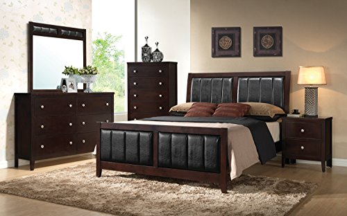 Coaster Home Furnishings Upholstered Bed, Black/Cappuccino