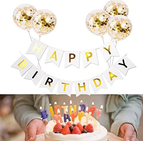 AONAT Striscioni di Buon Compleanno Palloncini Compleanno, Bandierine Compleanno Dorate con 5Pz Striscioni Palloncini Coriandoli in Lattice Oro, Decorazione Compleanno Striscioni Palloncini