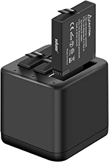 Soluser 360 ONE X Battery Charger Set Replacement Battery for Insta360 ONE X, 3-Pack 1200mAh Battery & Triple Slot Charger with Built-in TF Memory Card Reader