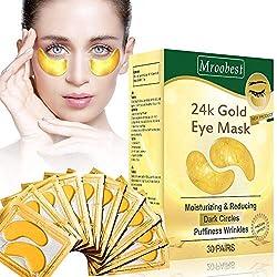 Eye pads, eye mask, 24k gold eye patches, anti aging eye pads with hyaluronic eye care, collagen eye mask moisturizing, removing pockets, dark circles & puffiness-30pairs