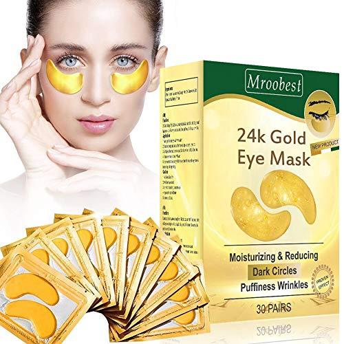 Augenpads,Eye Mask, 24k Gold Eye Patches, Anti aging Augenpads mit Hyaluron Augenpflege, Kollagen Augenmaske Feuchtigkeit spendende, entfernen Taschen, dunkle Kreise & Puffiness-30Pairs