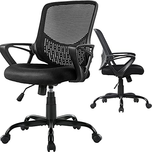 Office Chair, Computer Desk Chair with Ergonomic Mid-Back Design, Mesh Home Office Desk Chair with Armrest (Deep Black, Mid Back)