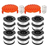 """RONGJU 16 Pack Weed Eater Replacement Parts for Black&Decker AF-100, 12 Pack 30ft 0.065"""" String Trimmer Line Replacement Spools + 2 Pack RC-100-P Caps&Springs (12 Spools+ 2 Caps+2 Springs)"""