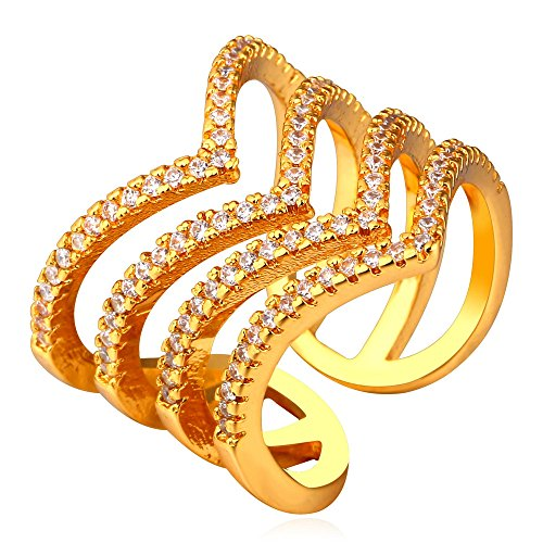 U7 Chevron Set Ring White CZ Inlaid 18K Gold Plated Four Line Novelty Design Open Wrap Ring