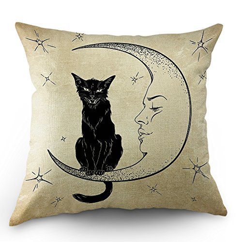 Moslion Cats Moon Throw Pillow Cover Pillow Case Black Cat Sits on The Moon Face Star Cotton Linen Pillow Case 18 x 18 Inch Cushion Cover for Sofa Living Room Light Brown