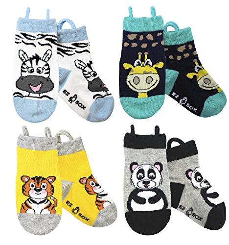 Ez Sox Jungen & Mädchen Kleinkind Socken, (3-5 Jahre, Zebra/Giraffe/Tiger/Panda)