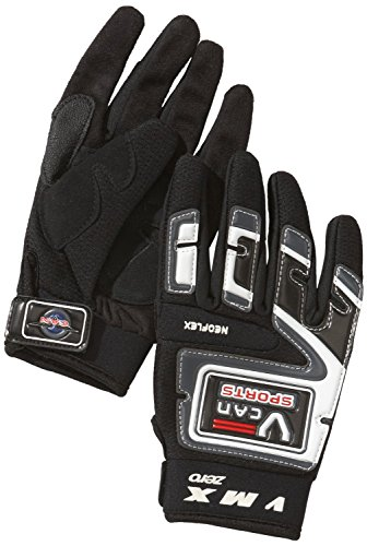 Protectwear MX01-SW-XL Crosshandschuhe, Downhillhandschuhe, BMX-Handschuhe aus Reißfestem Textil mit Kunstoffaufsätzen, Größe XL, Schwarz/Weiß